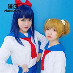 POP TEAM EPIC Cosplay Costume Pop and pipi Set With Top Skirts ORNAMENTS White Blue Navy School Uniform