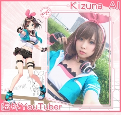 Kizuna AI A.I. Channel YouTuber Cosplay Costume Full Set With Top Pants Jacket