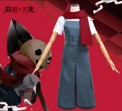 Angels of Death Eddie Cosplay Costume Uniform Cloth Suits Full Sets With T-shirt Rompers Scarf Glove Bib Pants