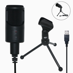 High Quality PC Condenser Microphones Desktop USB Cord plug & play stand Microphones Wired Tripods Gaming Microphone