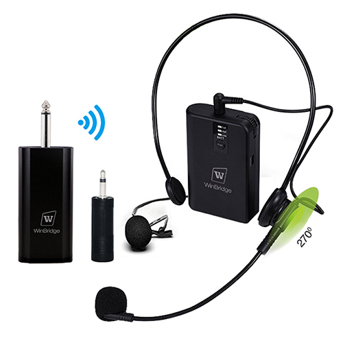 WinBridge WB029 Wireless Lavalier Microphone for DSLR Camera Recording UHF Rechargeable Transmitter & Receiver with Headset Microphone
