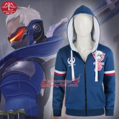 MANLUYUNXIAO High Quality Game Overwatch Cosplay Costume Blue Coat Hoddie Custom Made