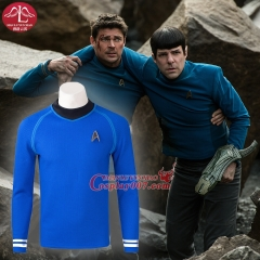 MANLUYUNXIAO Movie The Star Trek Cosplay Costume for men Halloween Blue T-shirt Custom Made