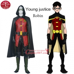MANLUYUNXIAO High Quality Justice League Robin Costume adult Outfits Suit Uniform+eye Mask+Gloves Set Halloween Cosplay Costume