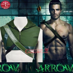 MANLUYUNXIAO Green Arrow Hoodie Cosplay Costume Superhero Oliver Queen Hoodies and Quiver Set Carnival Costume For Adult Men