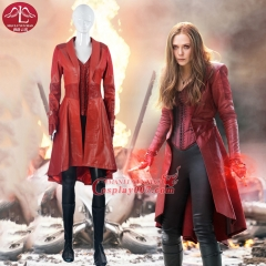 MANLUYUNXIAO Women's Costume Scarlet Witch Costume  PU Leather Cosplay Costume For Women Whole Set Halloween Costume For Women