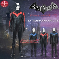 MANLUYUNXIAO High Quality Batman Nightwing Costume Full Set Jumpsuit Halloween Cosplay Costume For Men Any Size Custom Made