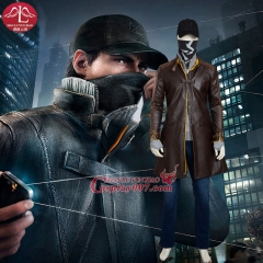 MANLUYUNXIAO Men's Full Set Watch Dogs Costume Aiden Pearce Cosplay Costume Deluxe Outfit Halloween Cosplay Costume for Adult