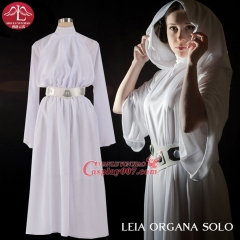 MANLUYUNXIAO Women's Costume  Leia Organa Solo Cosplay Costume Deluxe White Chiffon Hooded Turtleneck Dress Wholesale