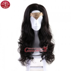 MANLUYUNXIAO Movie Wonder Woman Princess Diana Cosplay Wigs Curly Brown