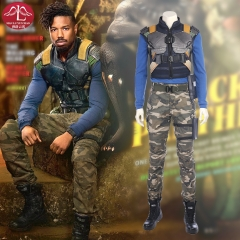 MANLUYUNXIAO New Movie Black Panther Erik Killmonger Cosplay Costume For Men Outfit