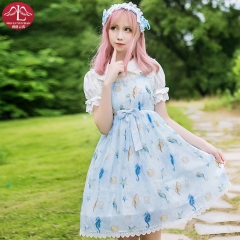 MANLUYUNXIAO Sweet  Lolita lace casual dress summer chiffon dress floral costumes for adult women