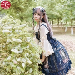 MANLUYUNXIAO Classical lace Lolita dress high waist blue and white adult printing billowing dress outfits