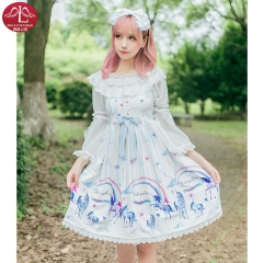 MANLUYUNXIAO Sweet  Lolita lace casual dress high waist summer vintage dress casual costumes