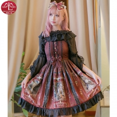 MANLUYUNXIAO Classical lace Lolita dress high waist black and red adult printing billowing dress outfits