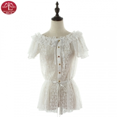 Lolita lace shirt round collar high quality for adult women Manluyunxiao