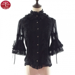 Lolita chiffon shirt with sleeve in flouncing vintage style for adult women Manluyunxiao