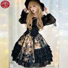 Classical Lolita black lace dress with waistcoat high quality for adult women Manluyunxiao