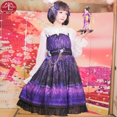 Classical Lolita dress with cherry blossom firework pattern with deluxe tippet for adult women Manluyunxiao