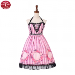 Sweet Lolita halter Dress 3D printing with flowers Manluyunxiao