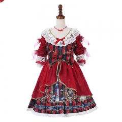 Original Sweet Lolita dress red color bowknot 3D printing OP casual dress Manluyunxiao