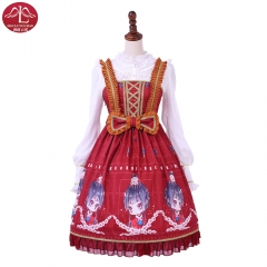 Original sweet Lolita dress red color printing bowknot JSK dress customize Manluyunxiao