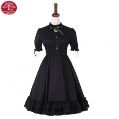 Black cotton classical Lolita dress short sleeve daily dress Manluyunxiao