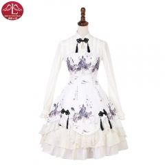 Qi Lolita dress Incense Landscape and printed OP lolita one piece dress Manluyunxiao