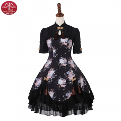 Qi Lolita Dress Chinese style peony printed fairy OP lolita one piece dress Manluyunxiao