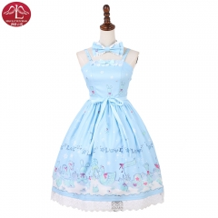 Sweet Lolita dress Ice dolls printed Jsk chiffon ruffles Lolita braces skirt Manluyunxiao
