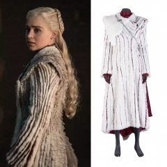 Game of Thrones 8 Daenerys Targaryen cosplay costume(white fur cloak)