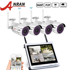 "ANRAN 4CH 960P Wireless Home Surveillance Security Camera System 4pcs 1.3MP WIFI Bullet IP Cameras WIFI NVR with 12"" Monitor No Hard Drive"