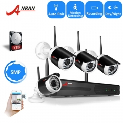 ANRAN H.265 Outdoor CCTV Security Camera system IR Long Range 35 Meter Wireless Signal Transmission 5MP 4 CH Wifi NVR Kits