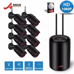 Anran 1080P 2MP IP camera wireless P2P 8CH Home wireless surveillance camera system 2TB HDD