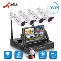 ANRAN 2MP wifi long range wireless cctv CCTV security camera system with 7inch LCD screen Monitor 1080P 4CH wireless NVR kit