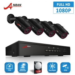 Anran 4CH 1080P 2 Megapixel Waterproof Infrared p2p ip Camera and NVR Package Whole outdoor Security camera 2mp system KIT