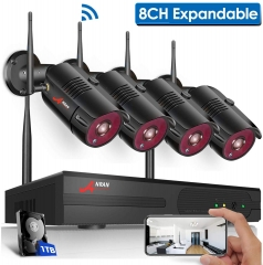【8CH Expandable】Outdoor Wireless Security Camera System,ANRAN 8 Channel 1080P Home Video Wifi NVR Kit with 1TB HDD,4pcs 1080P Indoor Outdoor Surveilla