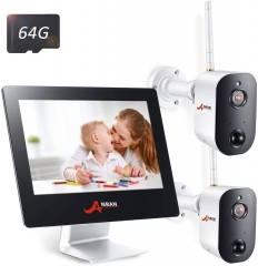 "4CH 2MP All-in-One 9"" Touched LCD Monitor with 2 Pro Rechargeable Battery Outdoor WiFi Security Camera 1080p HD Wire-Free 2-Way Audio"