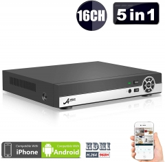 (5 in 1) ANRAN 16CH Security DVR 1080N AHD NVR HD Digital Video Recorder XVR for CCTV Security Camera System Support Mobile Phone Monitoring,Motion De
