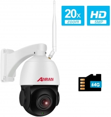 【With Audio】5MP Wireless Indoor Outdoor PTZ Home Security HD Camera with 20X Optical Zoom,WiFi Surveillance Dome Camera Built-in 64GB Micro SD Card, I