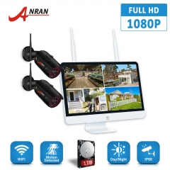 ANRAN wifi wireless camera 1080p 2 security camera set 15.6 with monitor wireless power supply security camera wireless wifi 2 million pixels HDD with