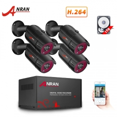 ANRAN 4 Channel 1080N Home Security Camera System 4ch CCTV DVR Recorder with 1TB Hard Drive 4X Full HD 1080P Surveillance Video Bullet Outdoor Camera