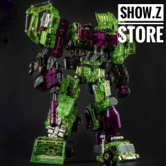Generation Toy GT GT-01GS Gravity Builder Devastator Green Shadow Clear Vesion Set of 6