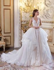c499508c0ac Romatic Sleeveless V-neck Stunning Multi-tiere Ballgown Wedding Dress  Luxurious Bridal Myedresshouse