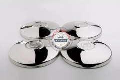 "4PCS Stainless Steel Late Flat Hubcaps with ""Wolfsburg"" Logo"