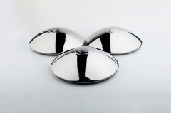"4PCS Early Domed Hubcaps ""Wolfsburg"" Crest Stainless Steel Beetle Split Bay Thing Ghia"