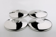"4PCS Stainless Steel Late Flat Hubcaps with ""Wolfsburg"" Crest"