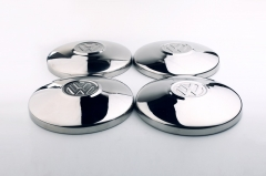 "4PCS ""VW""Stainless Steel Late Flat Hubcaps"