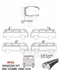 6pcs/set Type 2 Bus Bay windows Rubber Seals Kits Front Windshiel, Side(middle/rear) and Rear