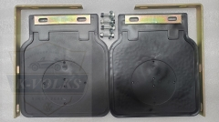 Type 1 Beetle Mud Flaps Pair Black with White Logo Brackets 1950 onwards for ALL Bugs
